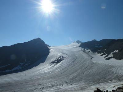 Sonne über Similaun Gletscher