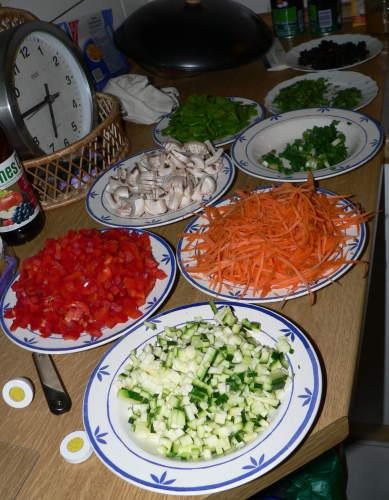 Fertig geschnittenes Gemüse